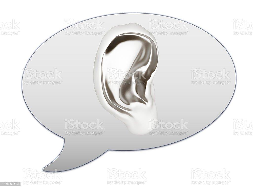 messenger window icon. Ear 3d stock photo