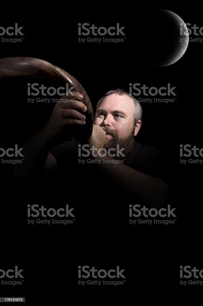 Messianic Man and Shofar Under a New Moon stock photo
