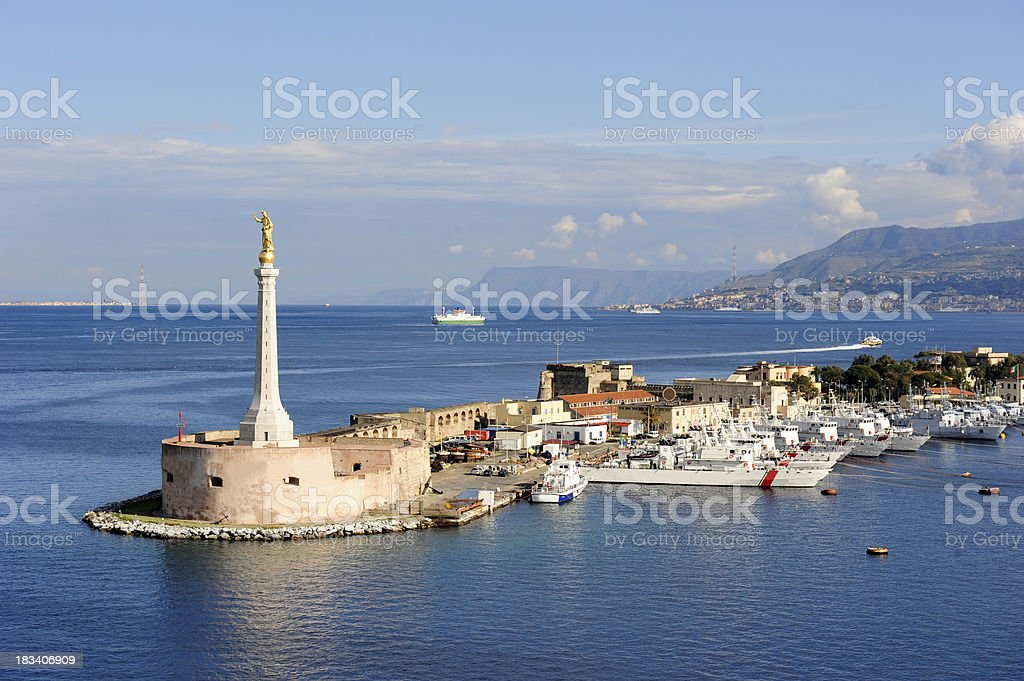 Messina harbor stock photo