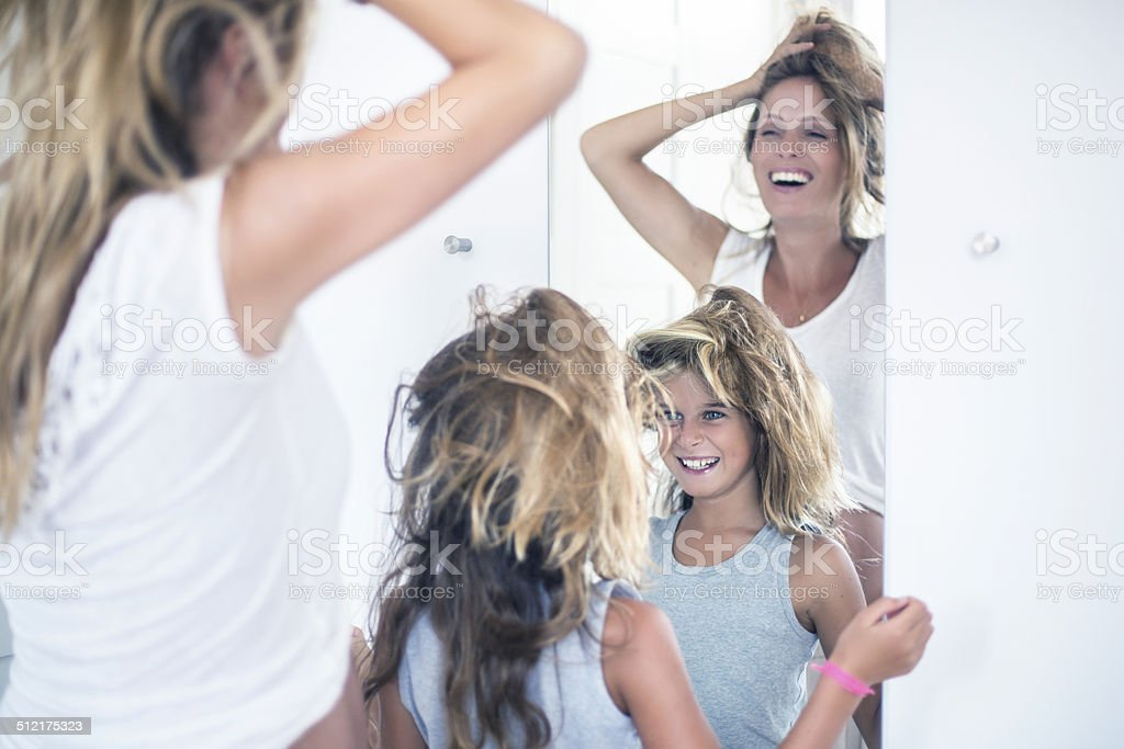 Messing with the hair stock photo