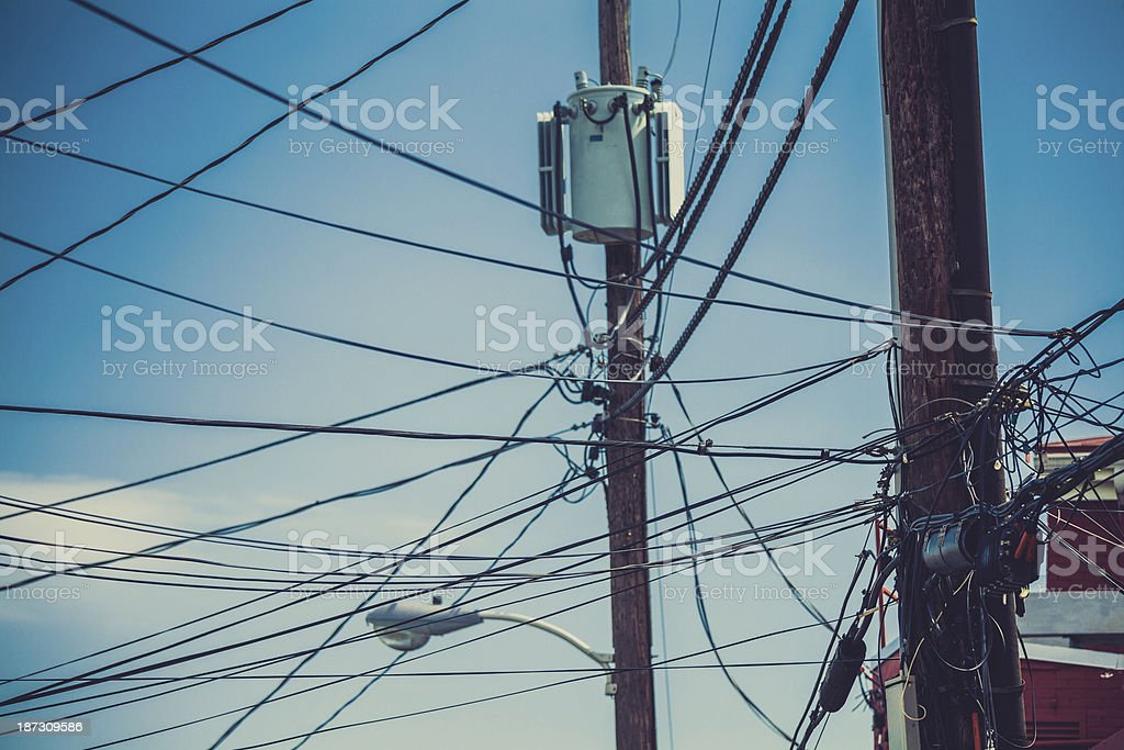 Messy American Utility Pole royalty-free stock photo