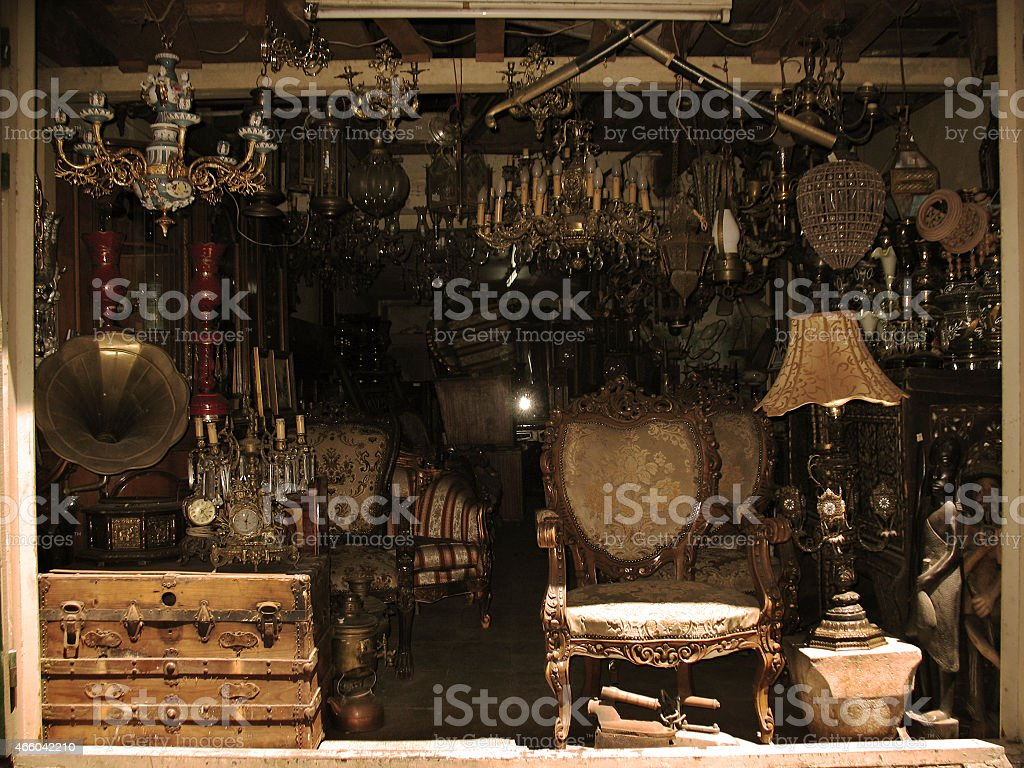 Messy Antique Shop stock photo