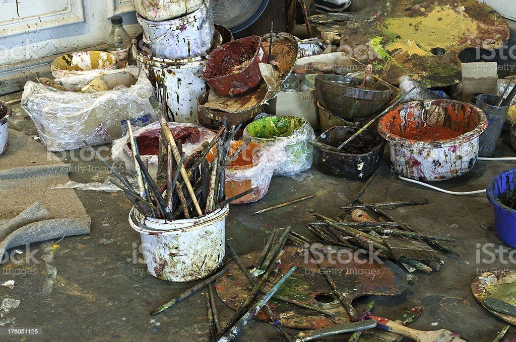 Messy artist studio royalty-free stock photo