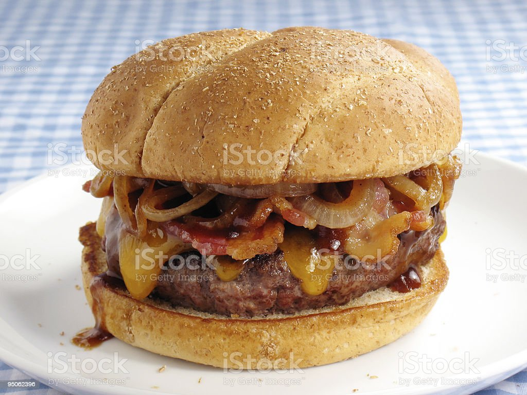 Messy Bacon Cheeseburger stock photo