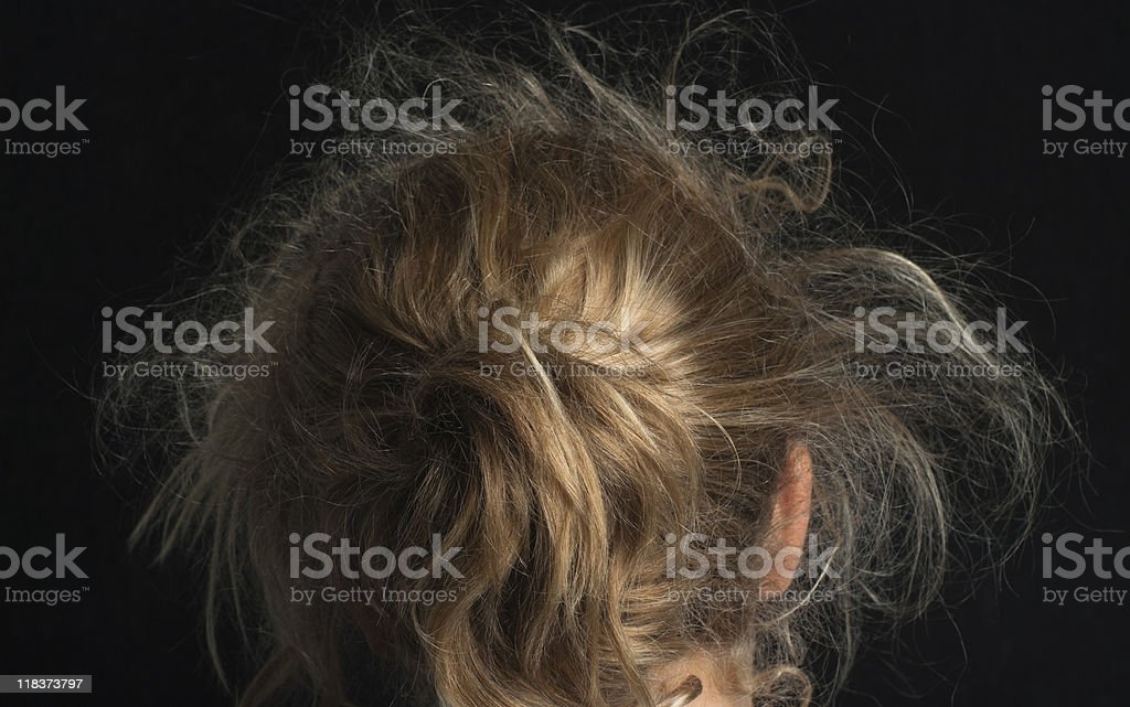 Messy blond hair stock photo