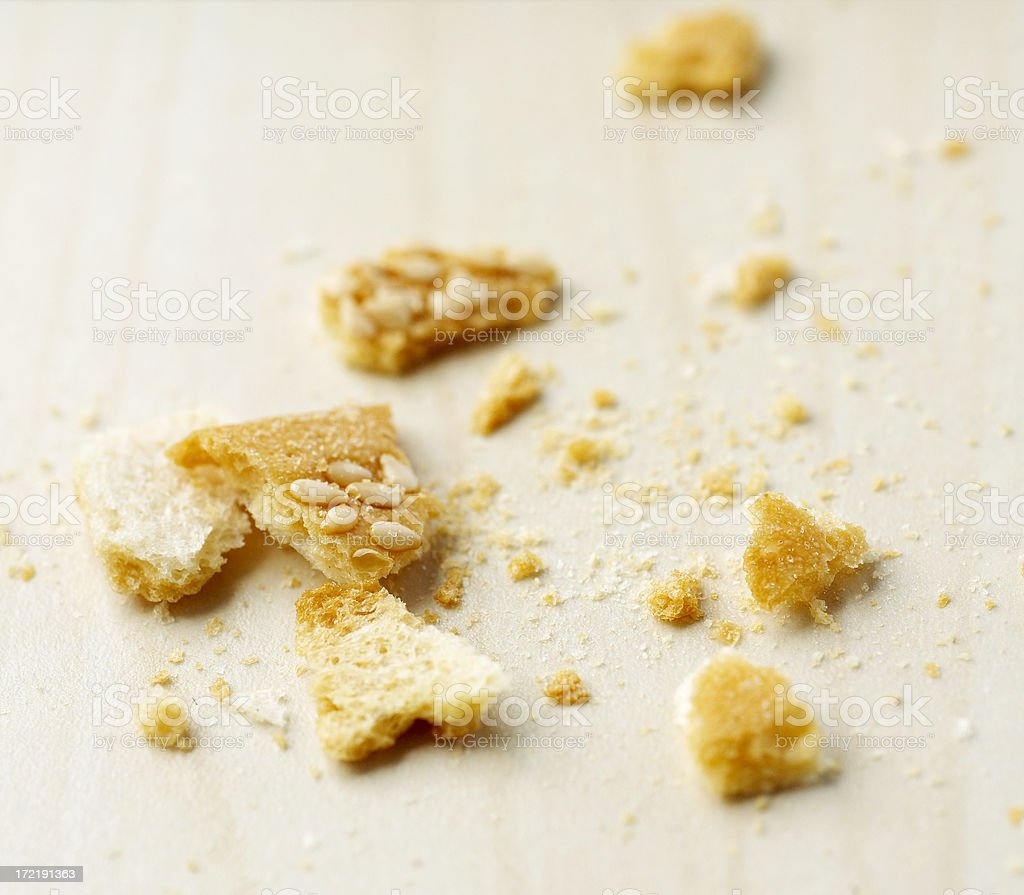 Messy bread crumbs royalty-free stock photo