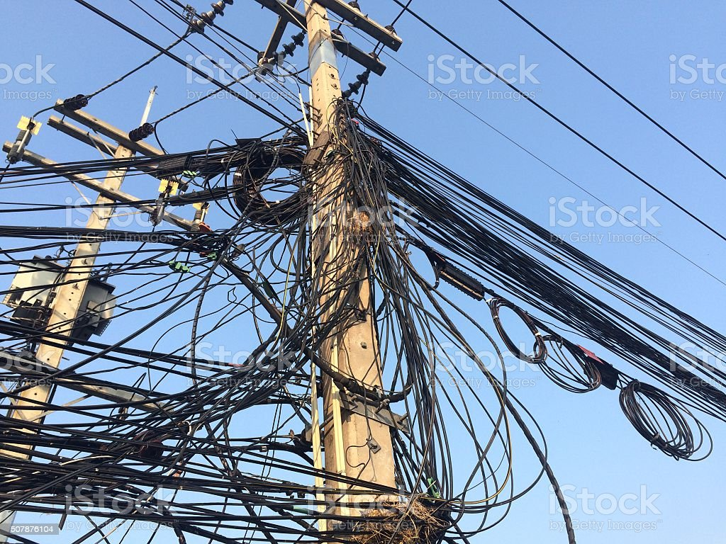 Messy cable electricity stock photo