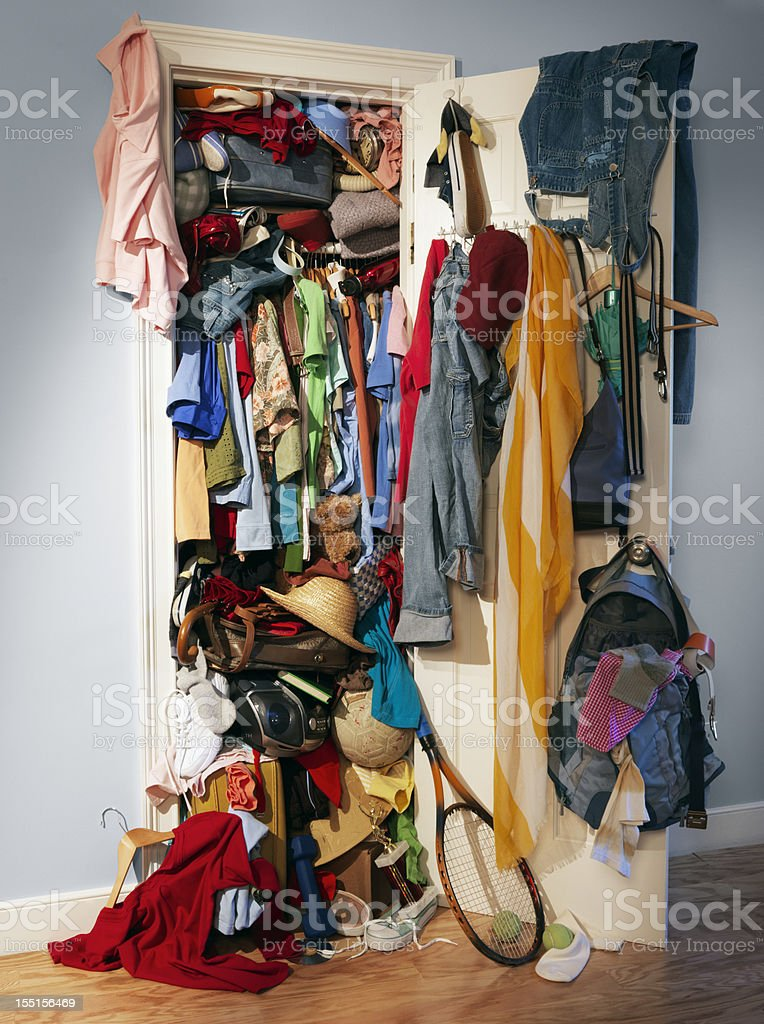 Messy Chaos Closet stock photo