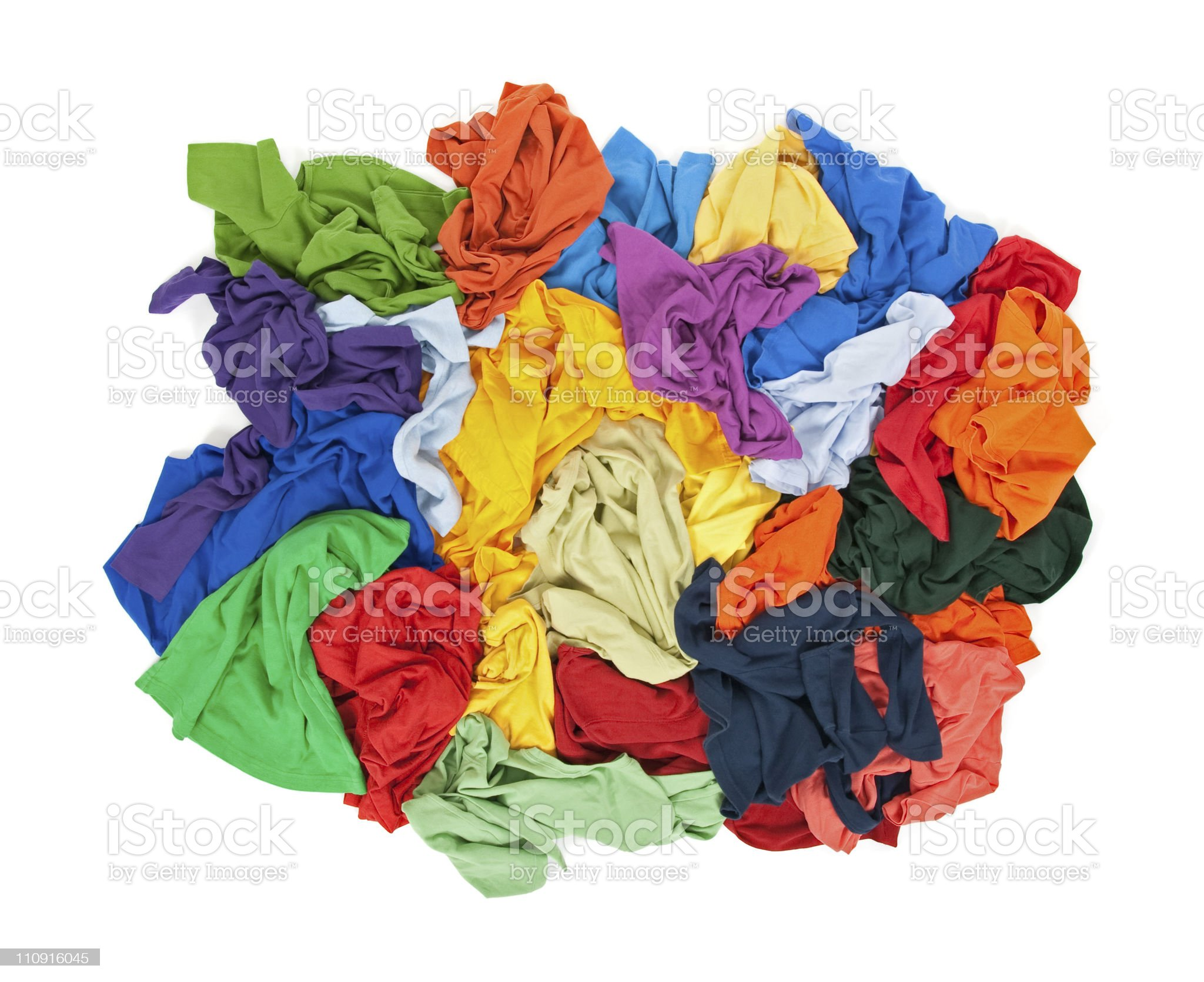 Messy colorful clothes from above royalty-free stock photo