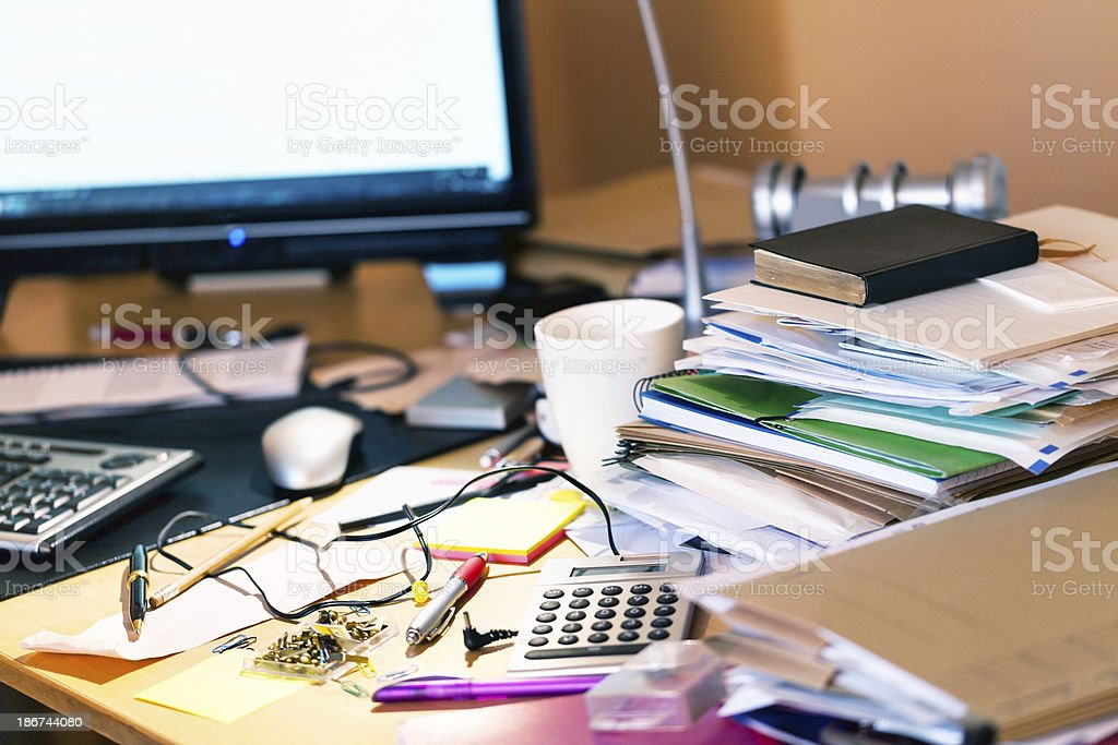 messy desk stock photo
