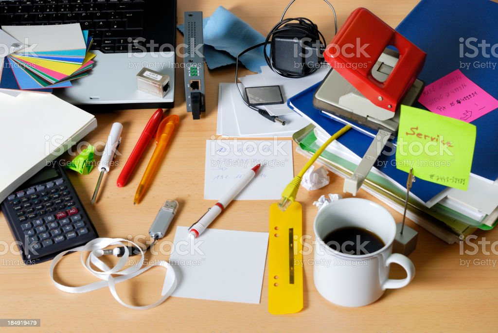 messy desktop royalty-free stock photo