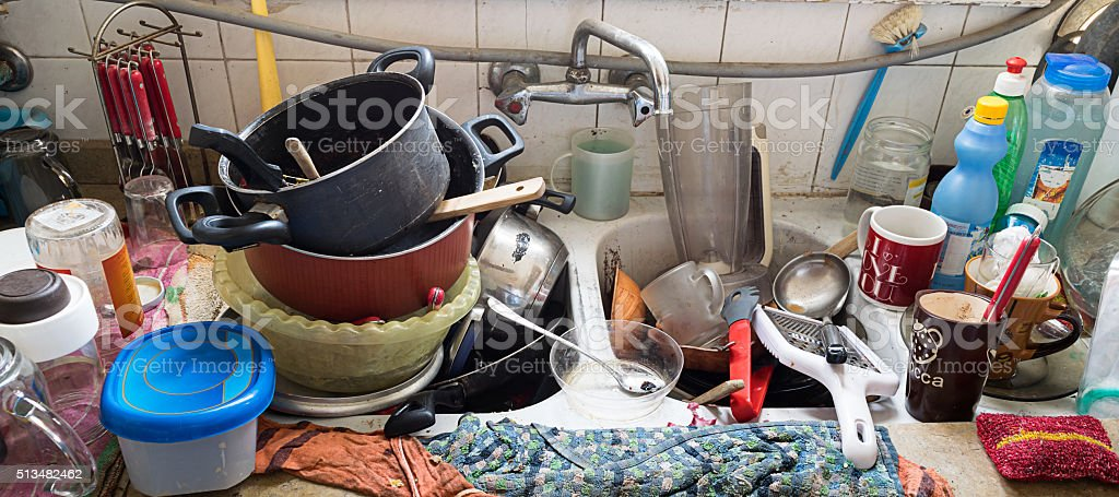 Messy Dirty Kitchen stock photo