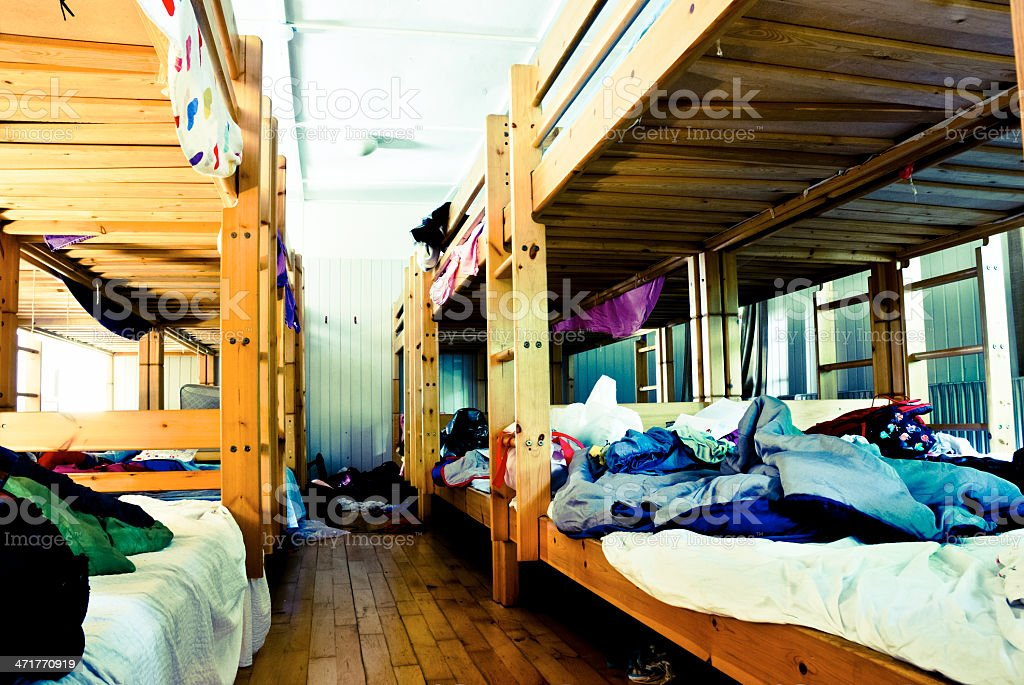 Messy dorm room from a summer camp for children stock photo