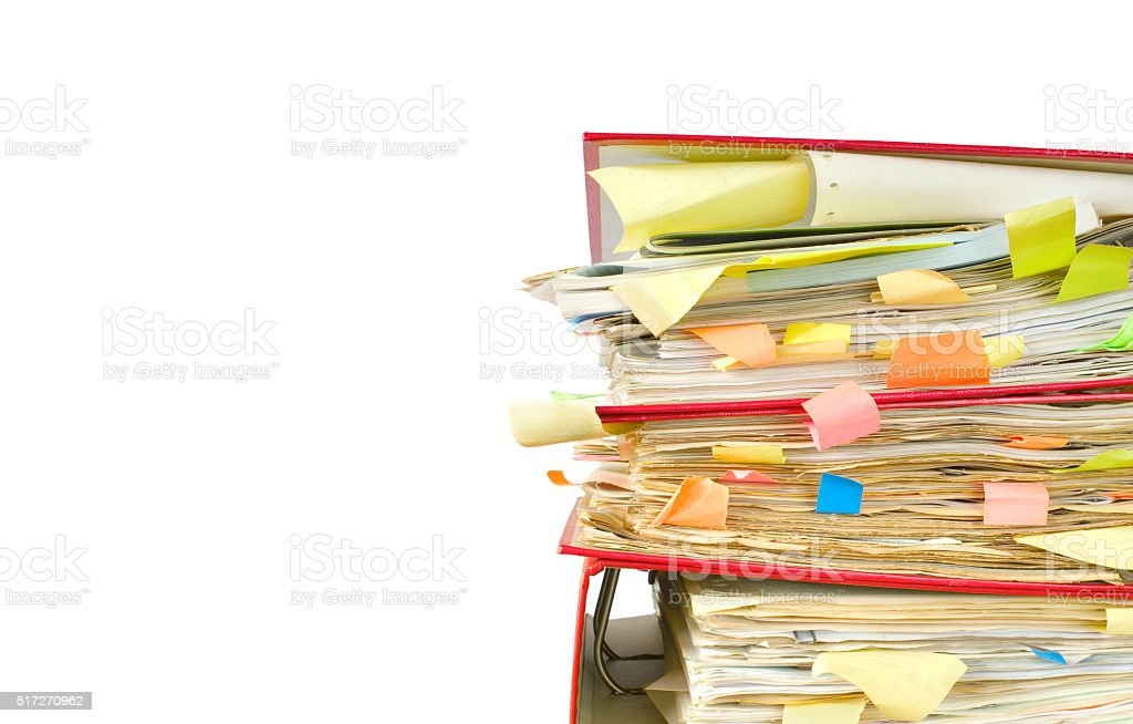 messy file folders and documents stock photo