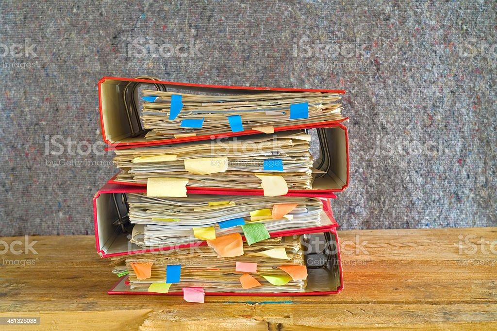 messy file folders, free copy space stock photo
