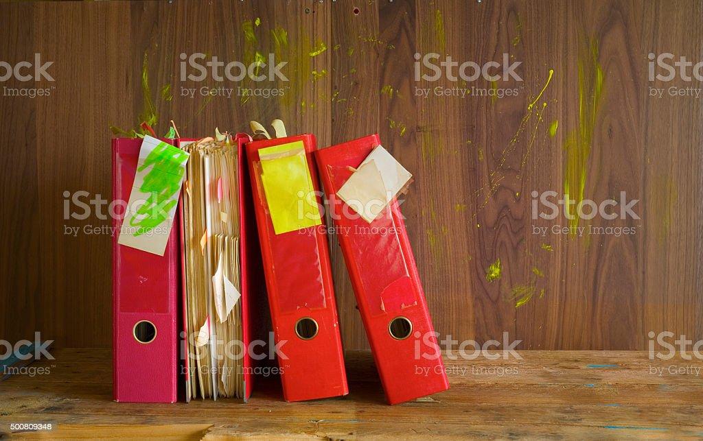 messy file folders, stock photo
