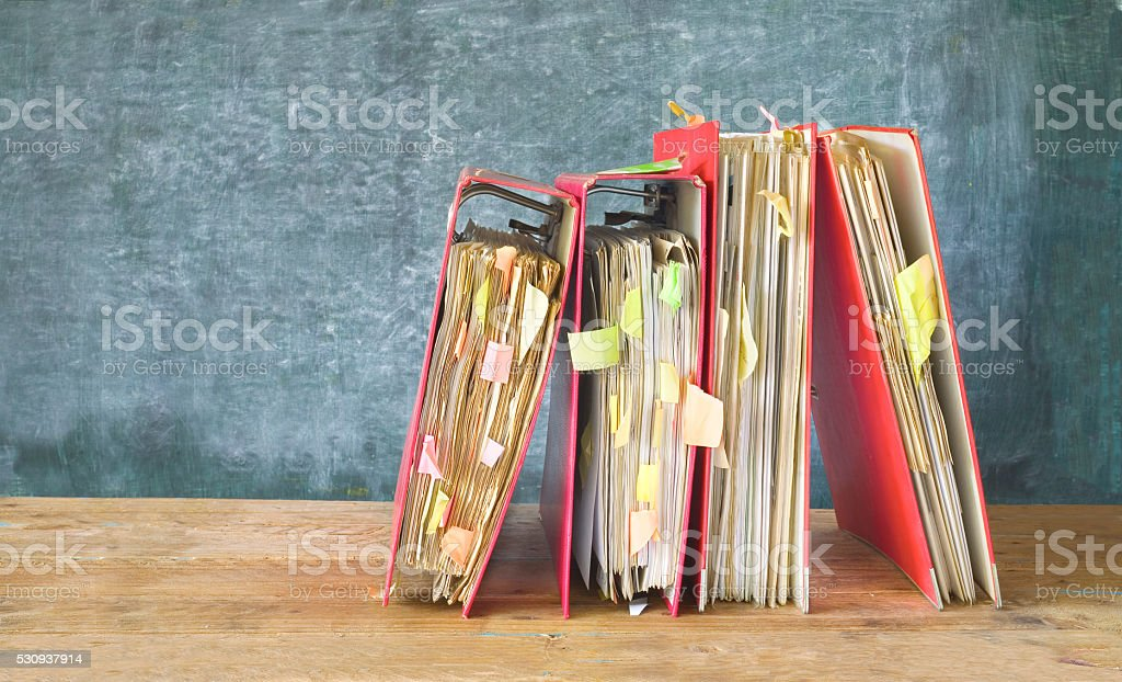 messy file folders stock photo