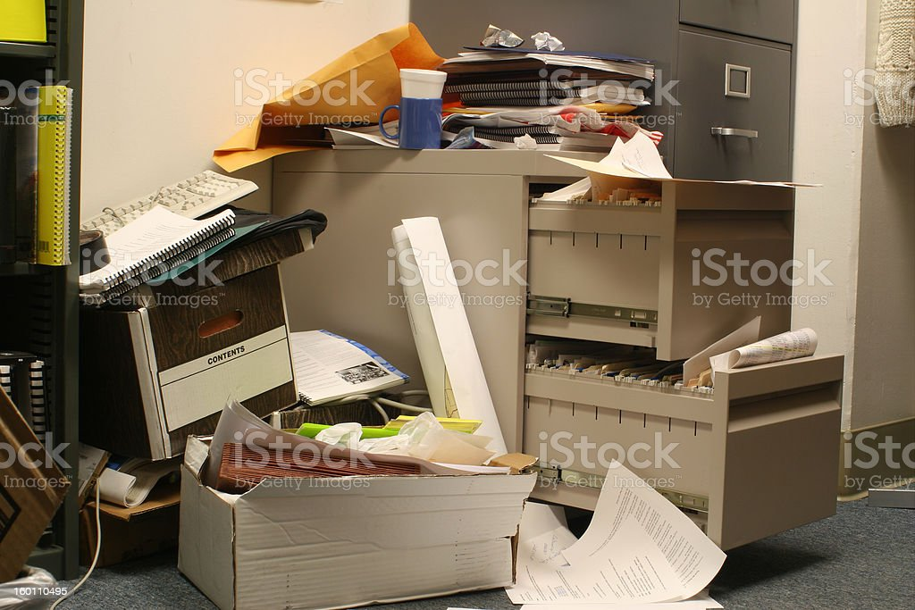 Messy Filing Cabinet royalty-free stock photo