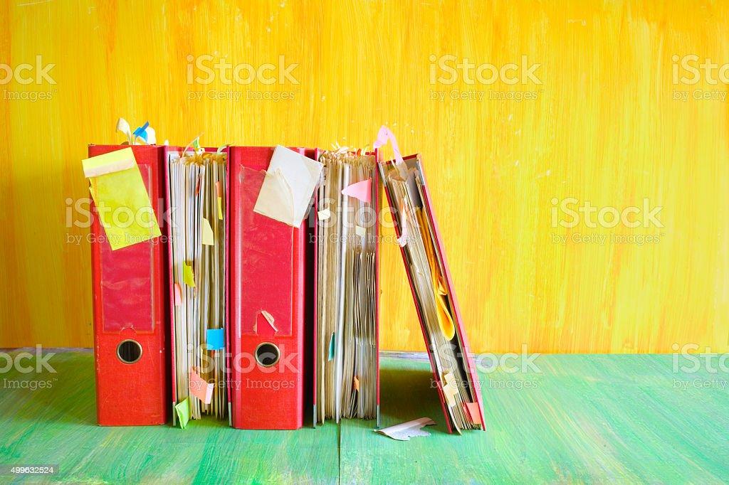 messy, grungy file folders stock photo