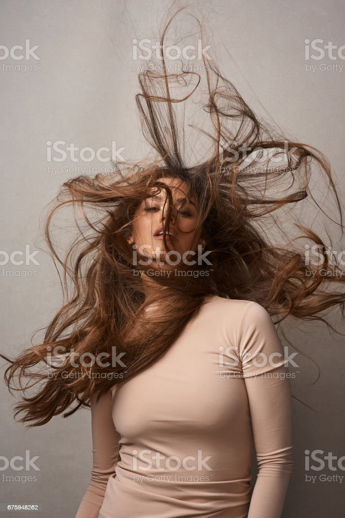 Messy hair, don't care stock photo