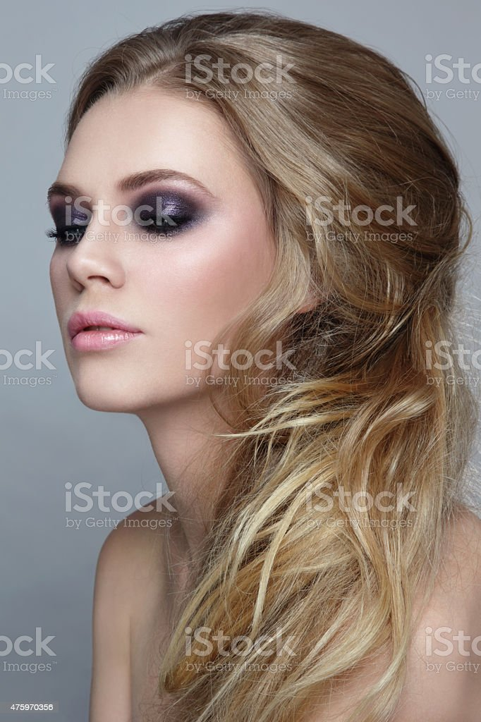 Messy hairstyle stock photo