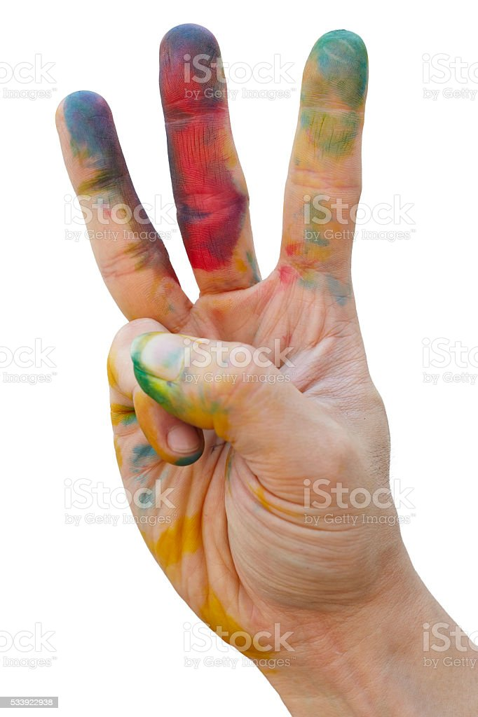 Messy hand with colour stock photo