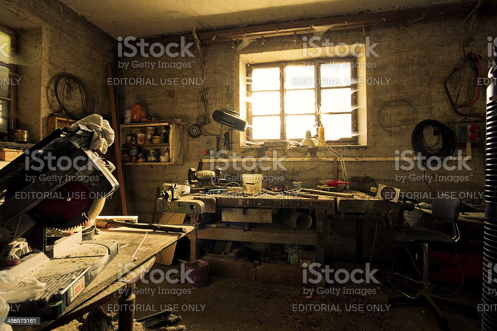 Messy Home Workshop royalty-free stock photo