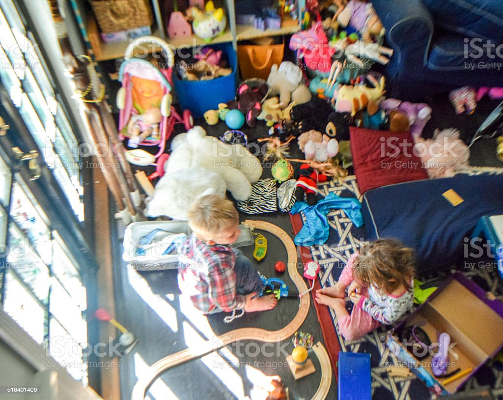 Messy kids stock photo