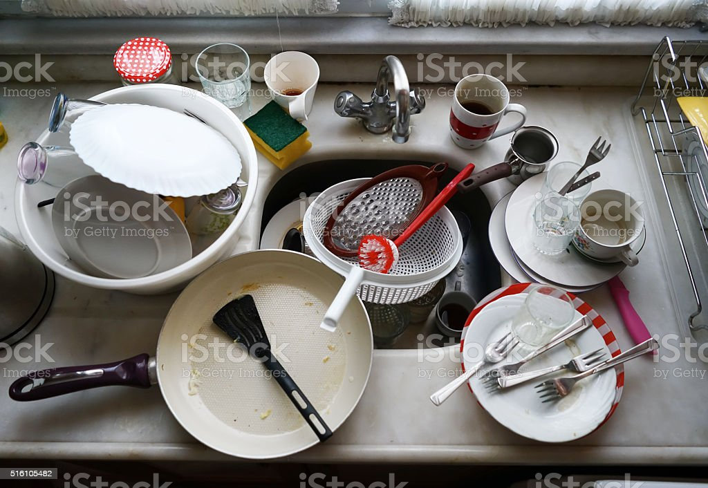 messy kitchen stock photo