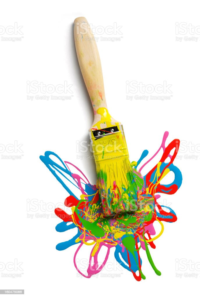 Messy Paint and Paintbrush royalty-free stock photo