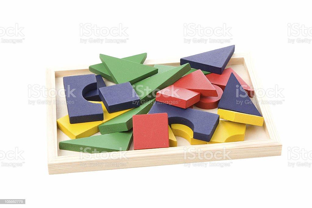 Messy pile of blocks stock photo
