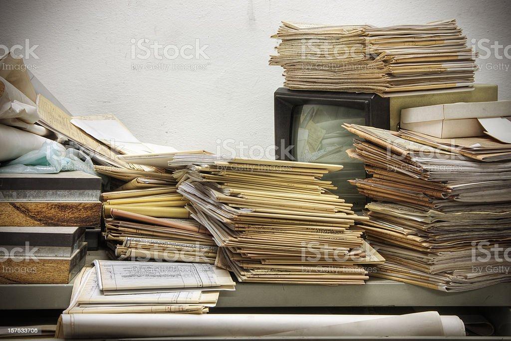 Messy Retro Desk stock photo