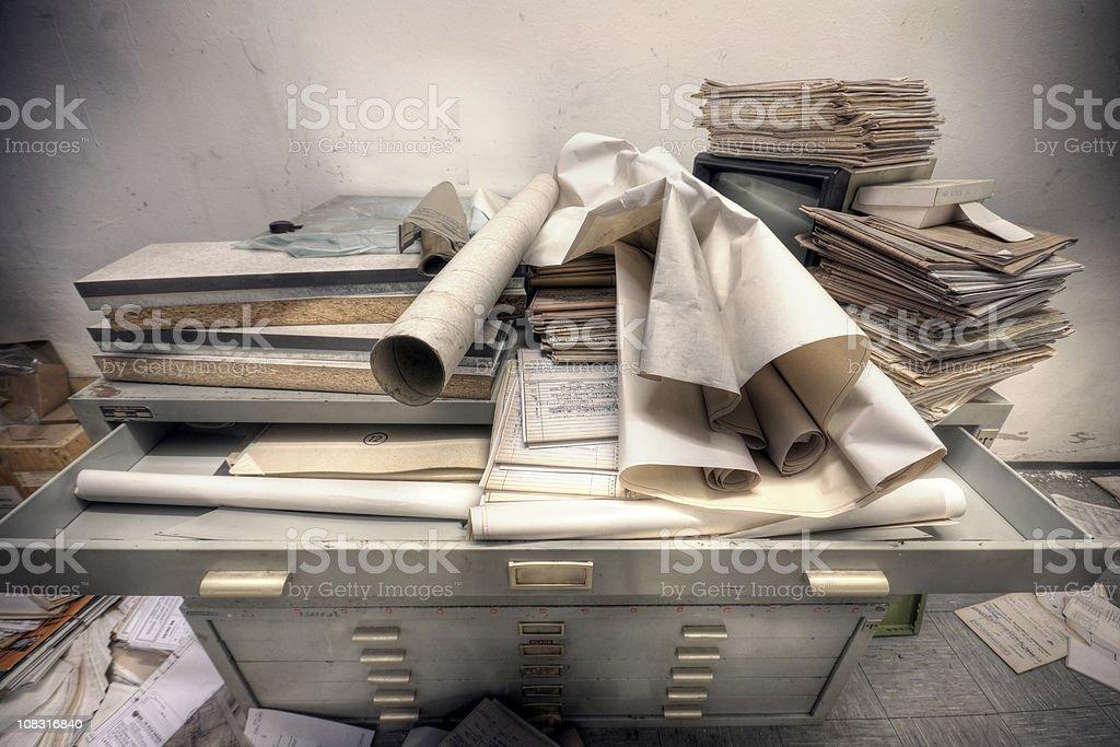 Messy Retro File Cabinet stock photo