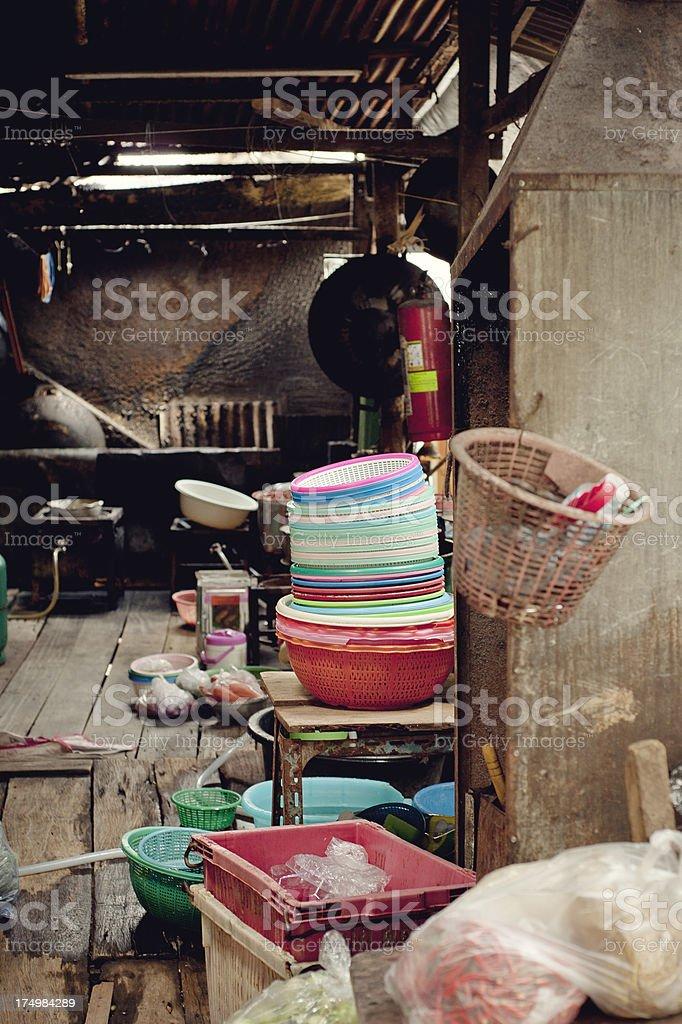 Messy Thai House, Vertical stock photo
