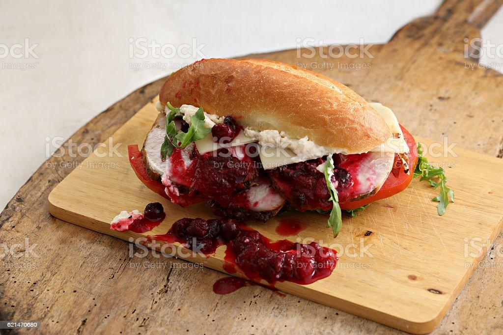 Messy Turkey Sandwich stock photo