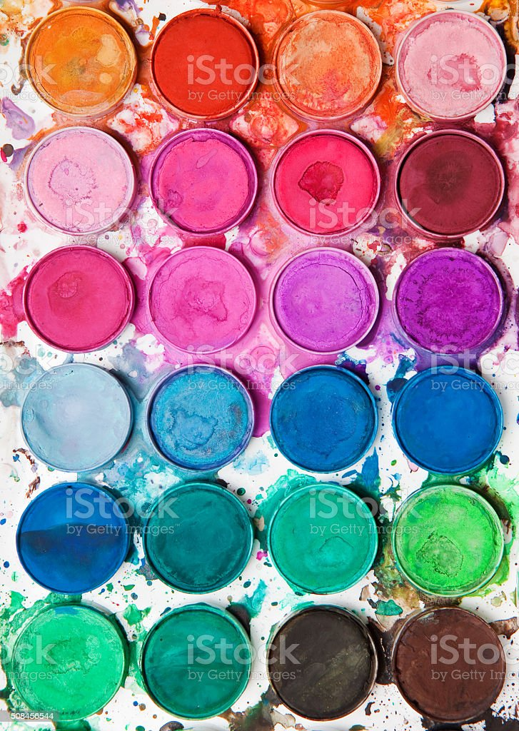 Messy Watercolor Paint Set stock photo
