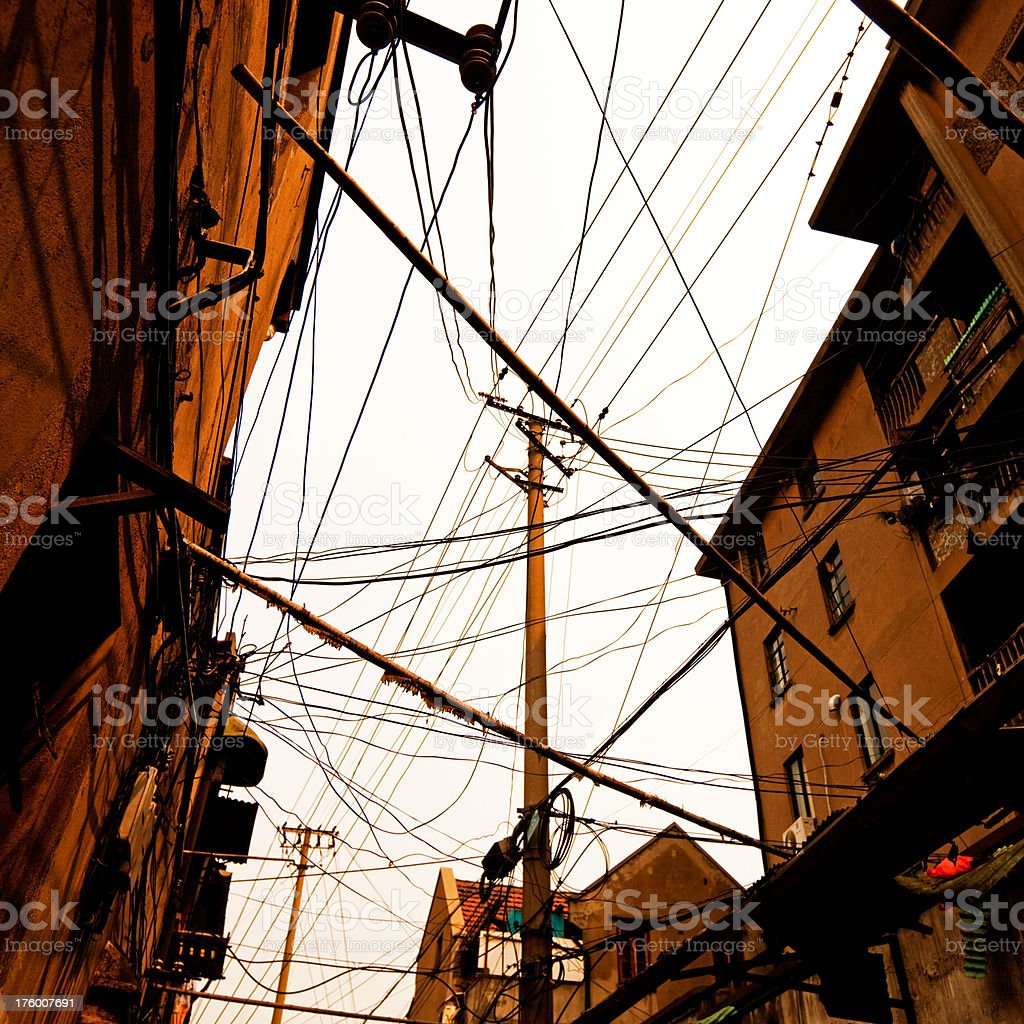 messy wires in china royalty-free stock photo