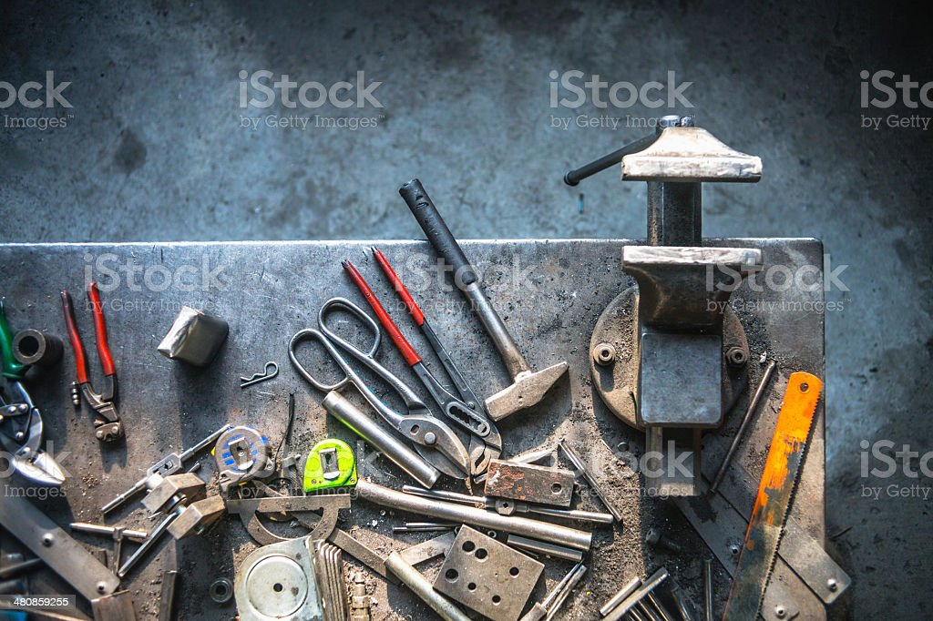 Messy work table stock photo