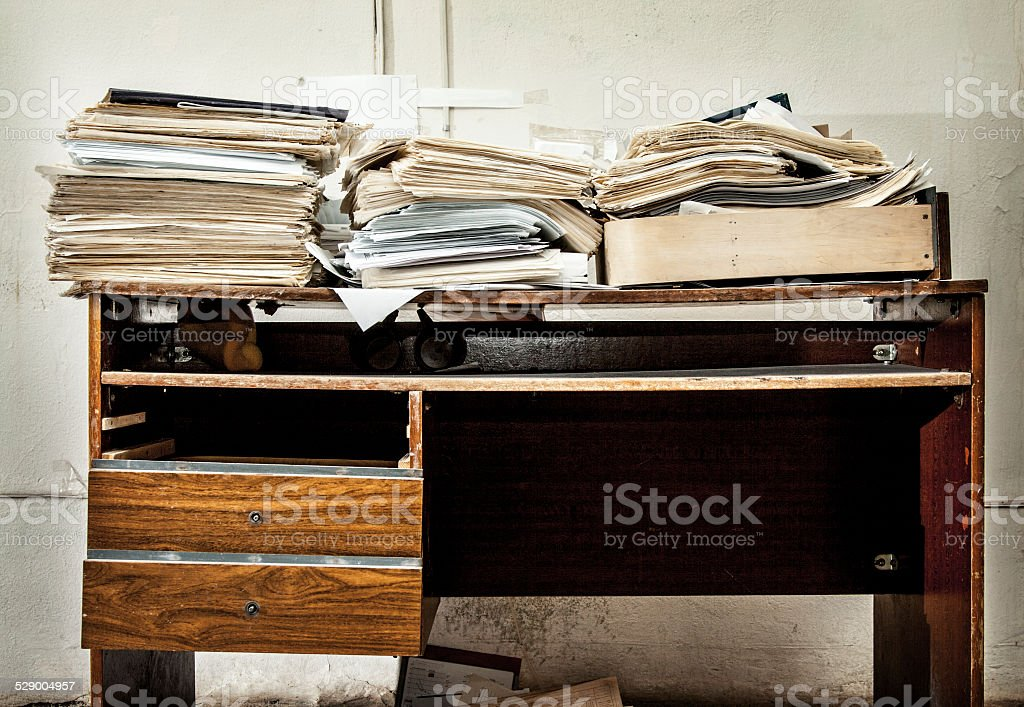 Messy workplace stock photo