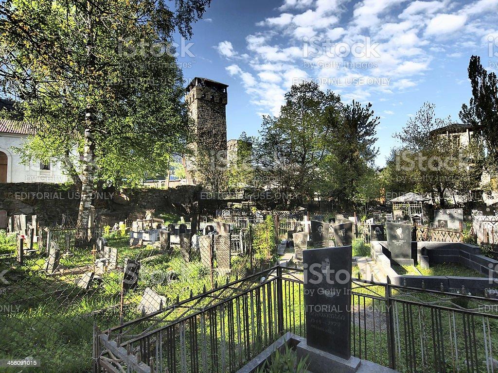 Mestia graveyard stock photo