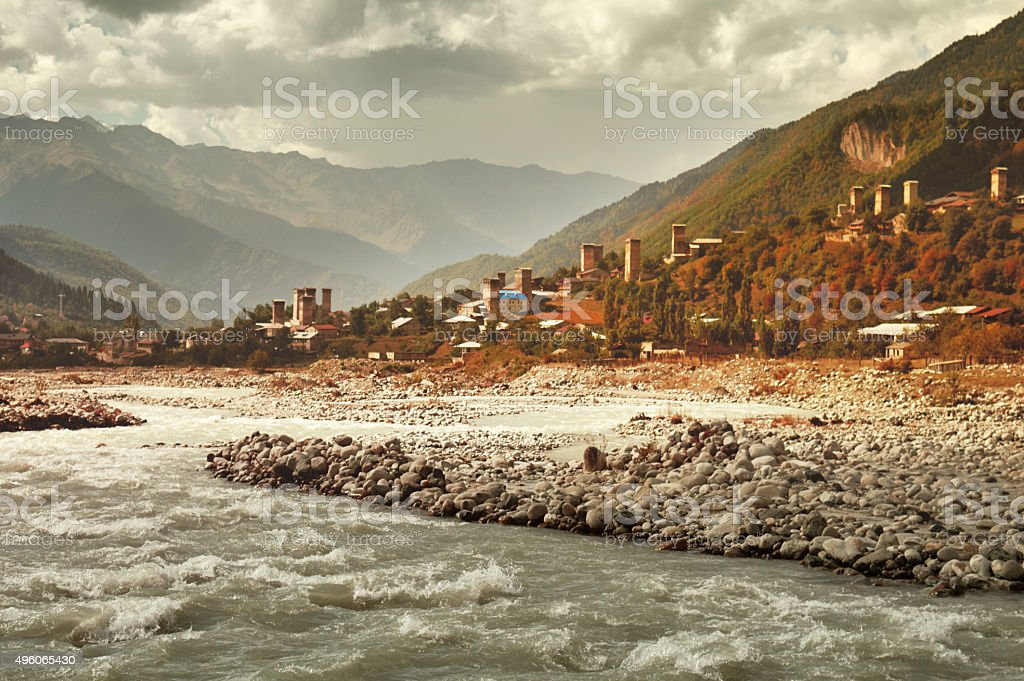 Mestia in Svaneti, Georgia. stock photo