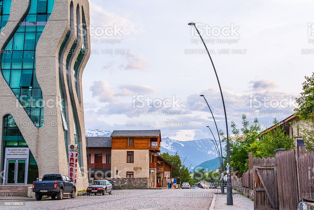 Mestia main street stock photo