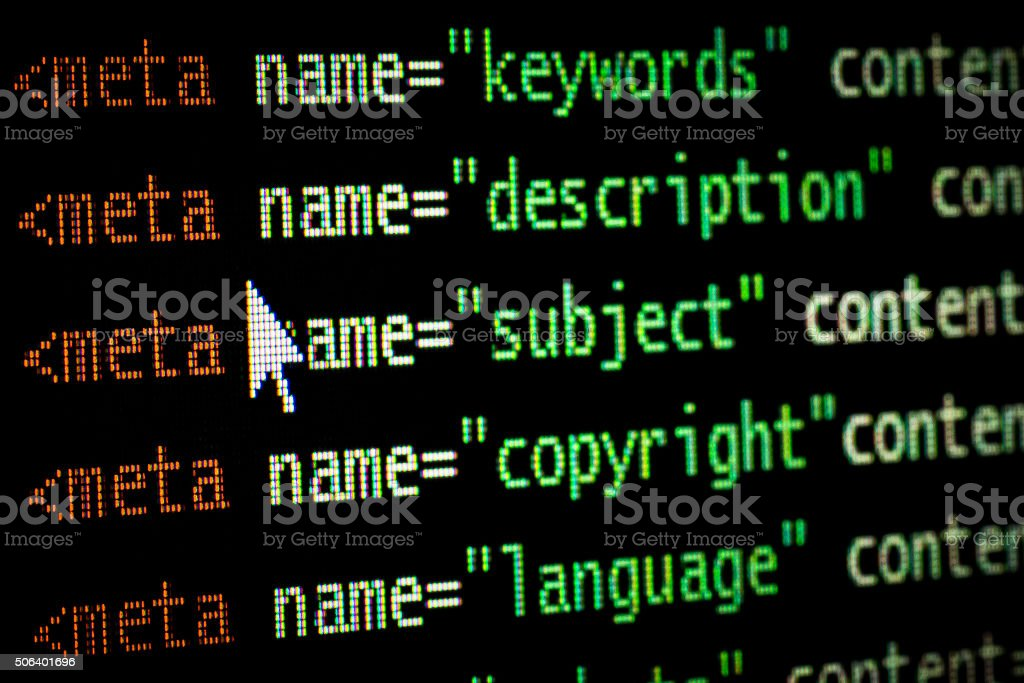 HTML meta tags in red and two shades of green stock photo