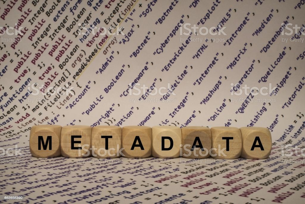metadata - cube with letters and words from the computer, software, internet categories, wooden cubes stock photo