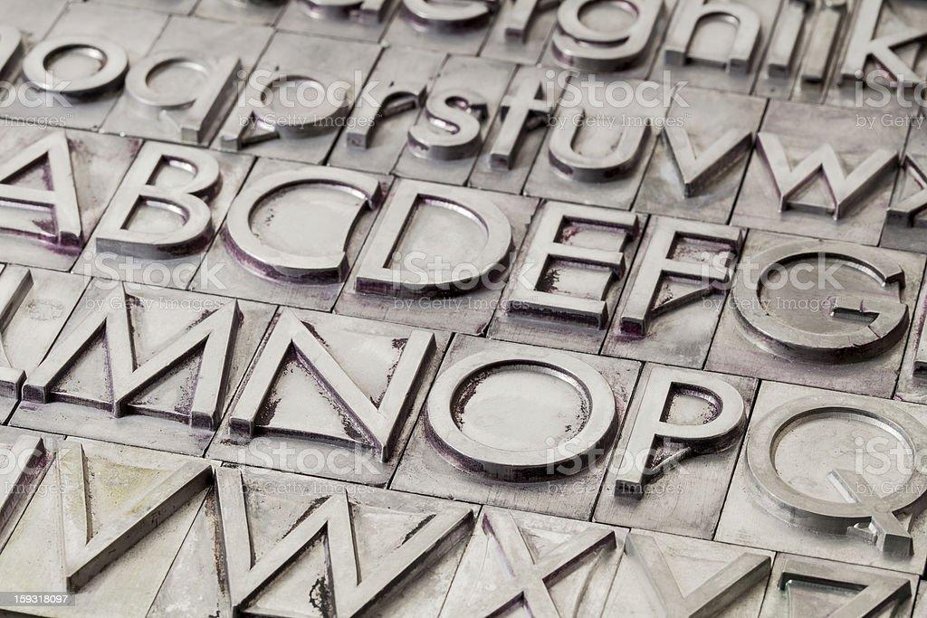 metal alphabet abstract stock photo