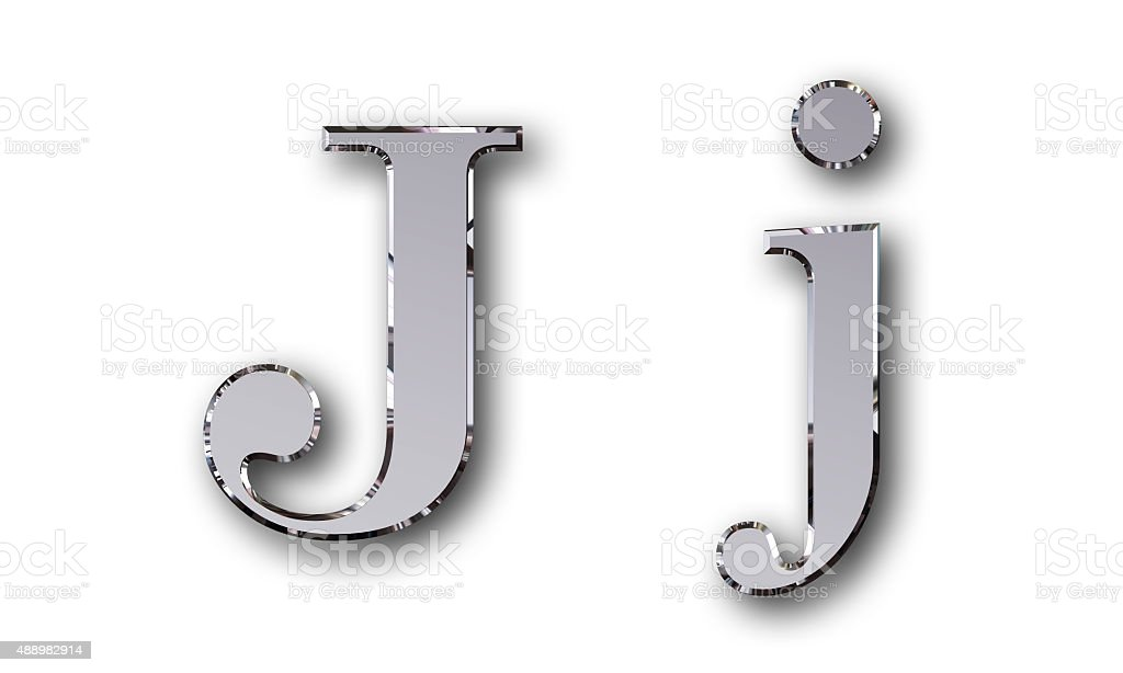 Metal alphabet symbol J - silver stock photo