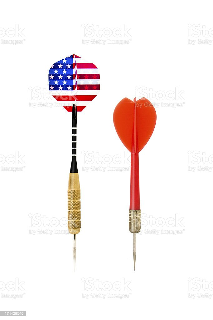 metal and plastic darts stock photo