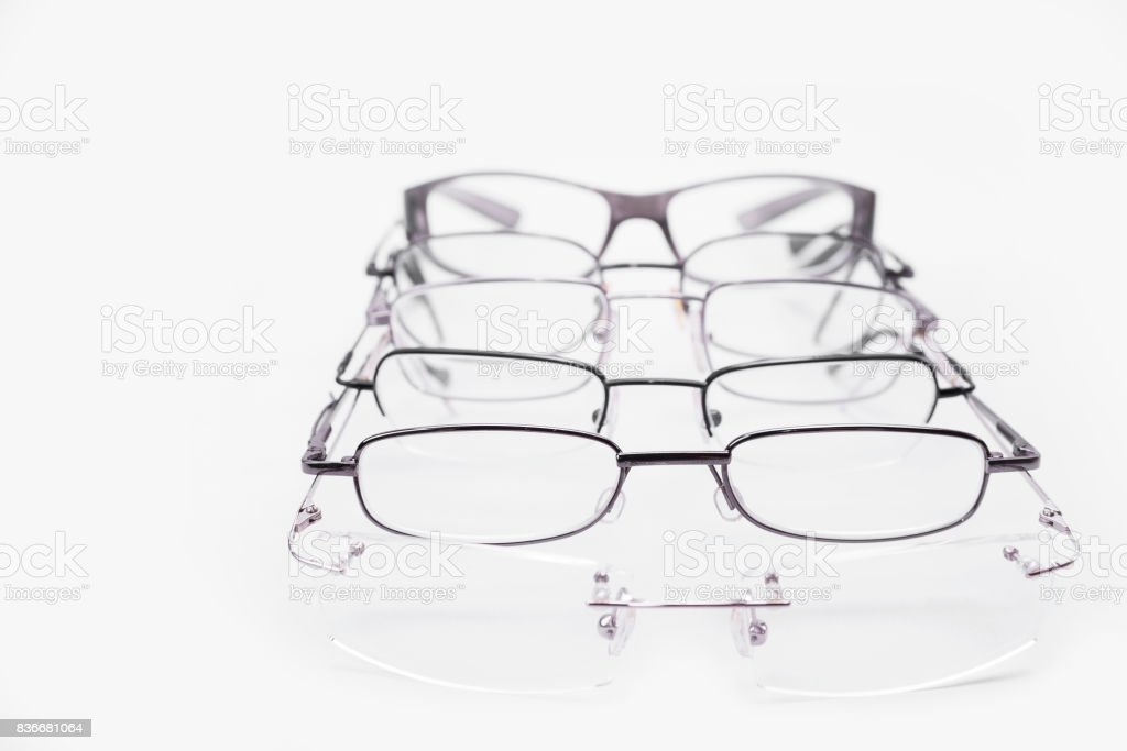 Metal and rimless frames for dioptrical glasses or sunglasses stock photo