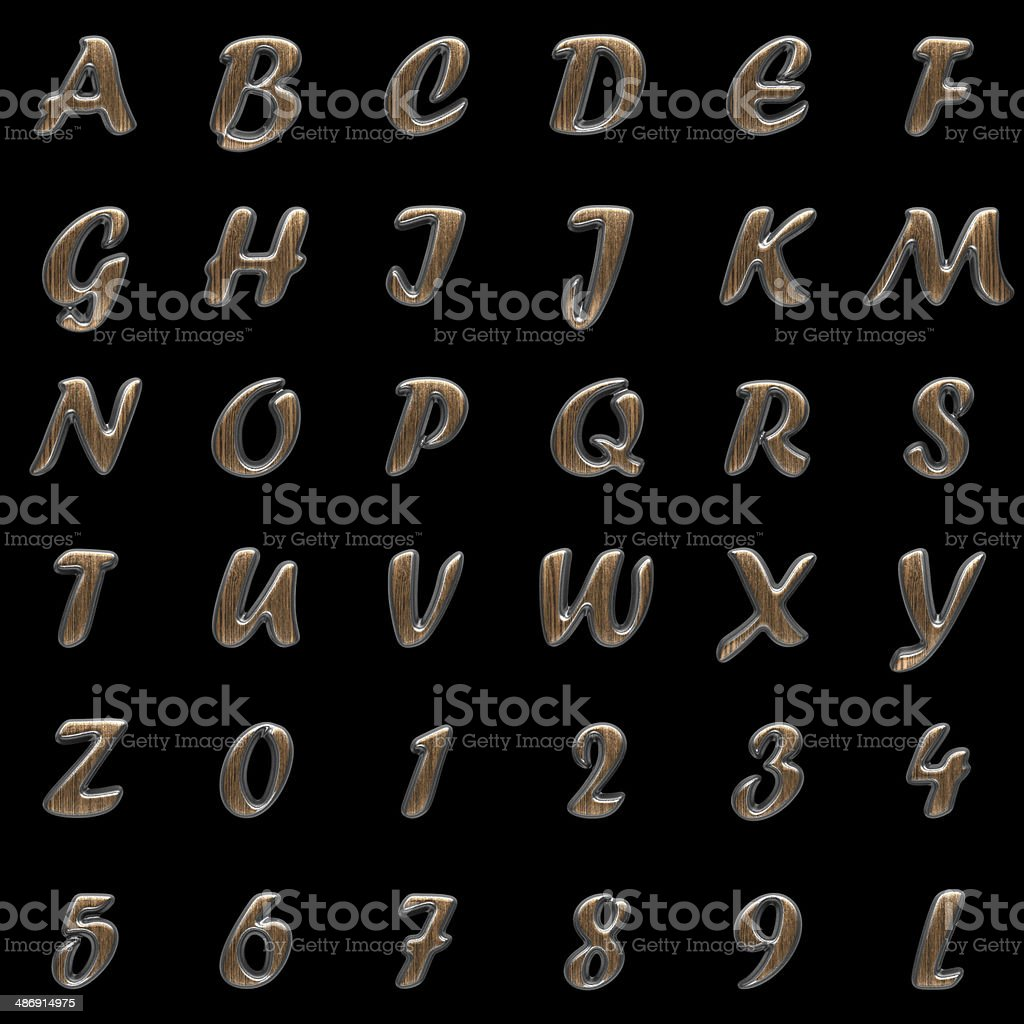 metal and wood alphabet on black background stock photo