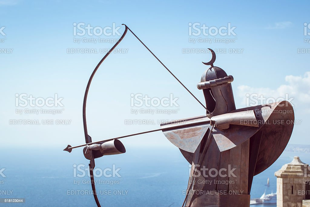 Metal Archer in the fortress of Santa Barbara stock photo
